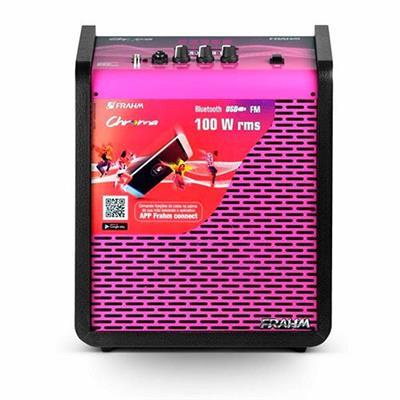Caixa de Som Amplificada Frahm Chroma App CR400 100W Bluetooth USB SD Card Rosa
