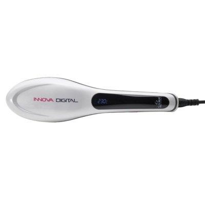 Escova Alisadora de Cabelo Gama Innova com Painel Digital 55w Branco Preto e Rosa