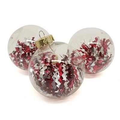Bolas de Natal com 6 Peças Santini 047-952623 Transparente com Laminado Vermelho e Prata