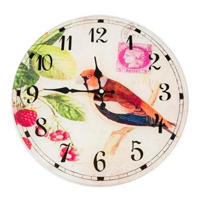 88be40e8756 Relógio de Parede Redondo Latcor LA3-1614 Pássaro com Maquinismo de Pequeno  Volume Bege com Ilustração