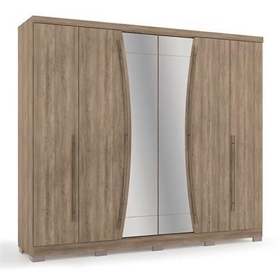 Roupeiro 6 Portas e 6 Gavetas Kappesberg G540 com Espelho e Pés MDP Nogal