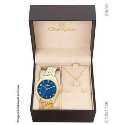 9f09f4f092e Relógio Feminino Champion com Kit de Joias CN25172K Analógico Pulseira de  Aço Dourado