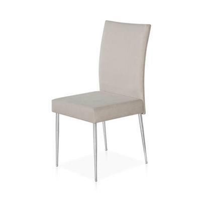 Cadeira Aço Nobre Miriam B369 Aço Cromado e Tecido Bege