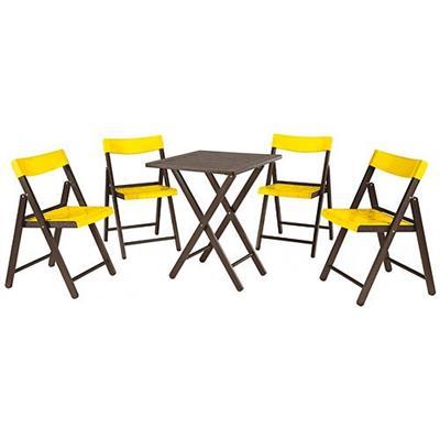 Conjunto Mesa 5 Peças Tramontina Potenza 10630/045 1 Mesa Quadrada e 4 Cadeiras Madeira Tabaco e Amarelo