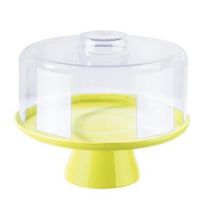 Suporte para Bolo Coza 10110/0463 com Cúpula Plástico Amarelo
