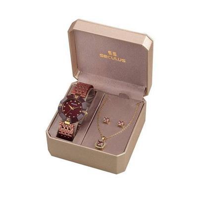 Relógio Feminino Seculus 23529LPSKMQ7K1 Analógico Pulseira de Aço Bronze