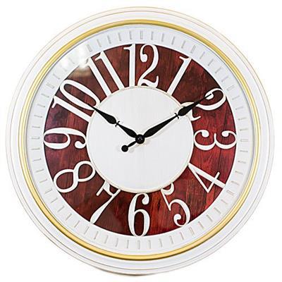 Relógio de Parede Redondo Latcor USH228C com Maquinismo de Pequeno Volume Branco e Vinho