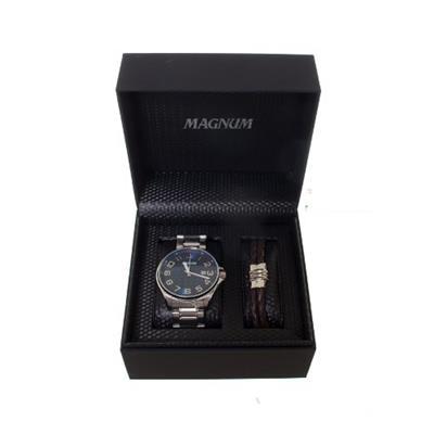 Relógio Masculino Magnum MA34585O Analógico Pulseira de Aço com Kit