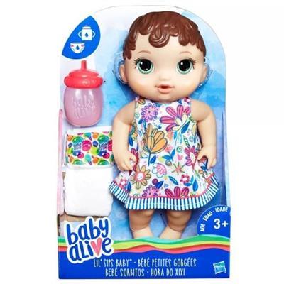Boneca Baby Alive Hora do Xixi Hasbro E0499 Morena Plástico 31cm