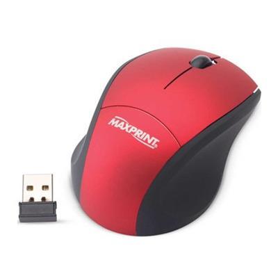 Mini Mouse Ótico Sem Fio USB Maxprint 607593 Vermelho e Preto