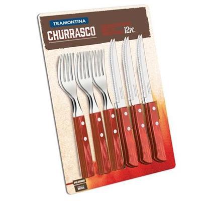 Conjunto para Churrasco 12 Peças Tramontina 21199/711 Lâminas em Aço Inox e Cabos de Polywood