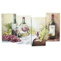 Conjunto de 4 Quadros para Decoração Latcor 82240 Ilustração de Vinhos