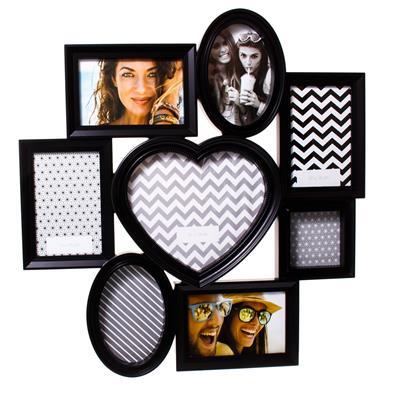 Porta-retrato com Moldura de Plástico Latcor P00942 para 8 Fotos Preto