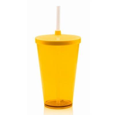 Conjunto de Copos com Canudo 2 Peças Martiplast CC7500 500ml Plástico Amarelo e Natural