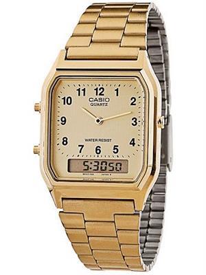 Relógio Masculino Casio AQ230GA9BMQU Analógico/Digital com Calendário Alarme Cronômetro Aço Inoxidável Dourado