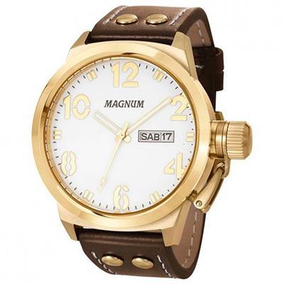 a5b765a1c9 Relógio Masculino Magnum MA32783B Analógico Pulseira de Couro Marrom e  Dourado