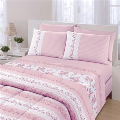 Conjunto roupa de cama 3 peças Solteiro Santista Royal Maite Rosa 100% Algodão