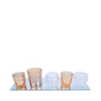 CONJUNTO 6 PEÇAS CASTIÇAIS URBAN COM BANDEJA GLASS LARANJA 40X0,6X12CM