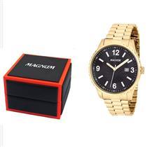 6056a14e76f Relógio Masculino Magnum MA31364U Analógico Pulseira de Aço Dourado