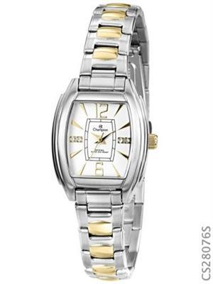 Relógio de Pulso Feminino Champion CS28076S Analógico Aço Resistência à Água 30 m Prata e Dourado