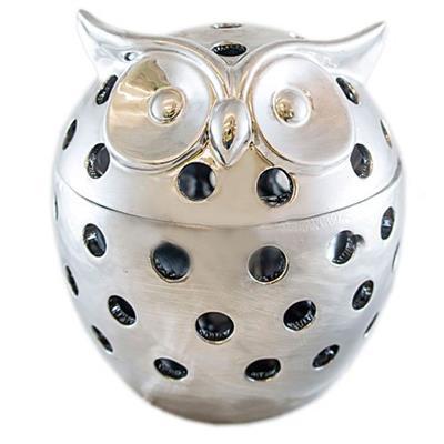 Adorno Coruja Latcor DOY37-14189-DY Enfeite para Decoração Cerâmica Prata