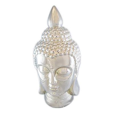 Adorno Buda Latcor OY243-14057 Enfeite para Decoração Cerâmica Prata