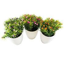 Conjunto de Decoração 3 Vasos de Plantas Artificiais Latcor BX-ASST5 Plástico Branco