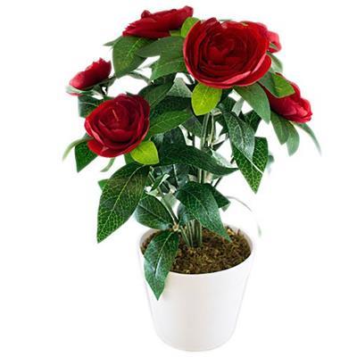 Vaso com Planta Artificial com Flor para Ornamentação Latcor HT11279 Verde Vermelho e Branco