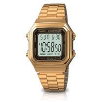 Relógio Feminino Casio A178WGA1ADFU Analógico Pulseira de Aço Dourado f966e4dcf3