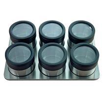 Conjunto de Frascos para Condimentos 6 Peças Mimo 5021-AI1401 com Suporte Inox e Plástico Preto