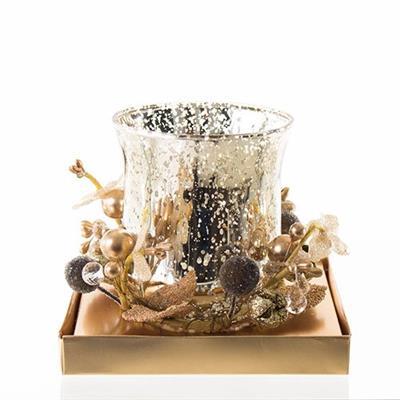 Enfeite Natalino Candelabro Santini Christmas 048-065232 Plástico e Vidro Dourado