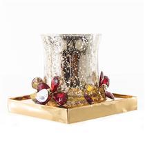 Enfeite Natalino Candelabro Santini Christmas 048-065237 Plástico e Vidro Dourado e Vermelho