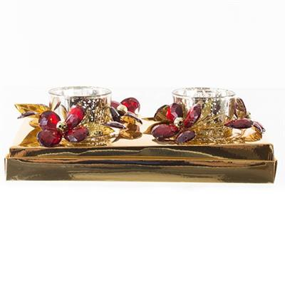 Enfeite Natalino Candelabro Santini Christmas 048-065235 Plástico e Vidro Dourado e Vermelho