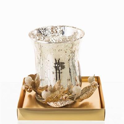 Enfeite Natalino Candelabro Santini Christmas 048-065243 Plástico e Vidro Dourado e Prateado