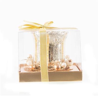 Enfeite Natalino Candelabro Santini Christmas 048-065241 Plástico e Vidro Dourado e Prateado