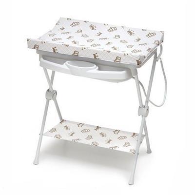 Banheira para Bebê Galzerano Luxo 7015 Tanque Removível Suporte Dobrável Trocador Branco Estampado