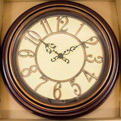 010fd6dad62 Relógio de Parede Redondo Latcor USH247C Ferro com Maquinismo de Pequeno  Volume Cobre e Bege