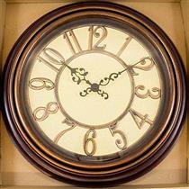 Relógio de Parede Redondo Latcor USH247C Ferro com Maquinismo de Pequeno Volume Cobre e Bege
