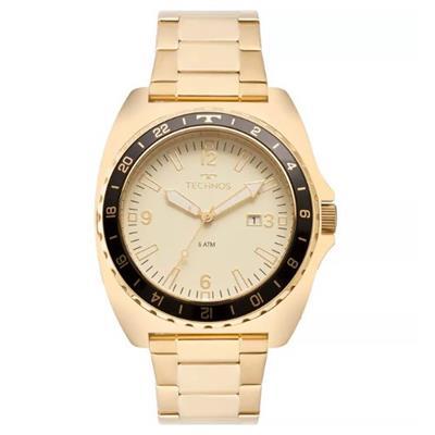 2000baf489a Relógio Masculino Technos 2115MOD 4D Analógico Pulseira de Aço Dourado