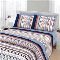 Conjunto roupa de cama 3 peças Solteiro Santista Royal Lionel Azul 100% Algodão