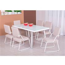 Conjunto de Copa Mesa 7 Peças Modecor Amarilis 1 Mesa Retangular Tampo de Vidro 6 Cadeiras 880/818 Branco