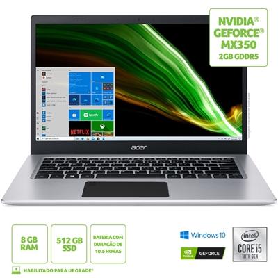 """Menor preço em Notebook Acer Aspire 5, Intel® Core i5 - 1035G1, 8GB RAM , 512GB SSD (M.2 - 2280), Tela 14"""" HD, Gráficos NVDIA® GeForce MX350 Com 2GB GDDR5, Windows 10 - Prata"""