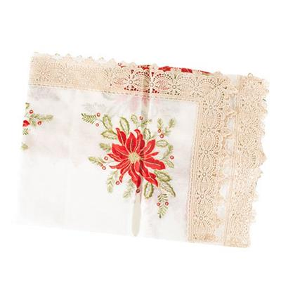 Toalha de Mesa Santini Christmas 048-256720 Tamanho 110x110cm Poliéster Branco Bege e Vermelho