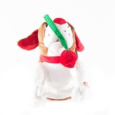 Enfeite Natalino Cachorro Musical de Pelúcia Santini Christmas 048-246545 Bateria 25 cm