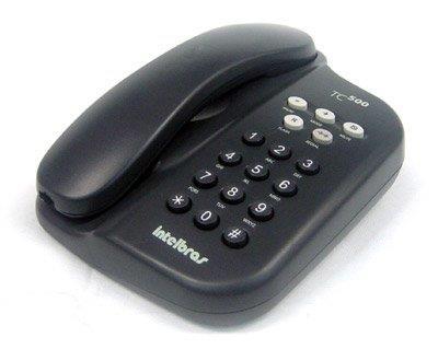 Telefone Intelbras de Mesa e Parede TC 500 com Chave Grafite Preto