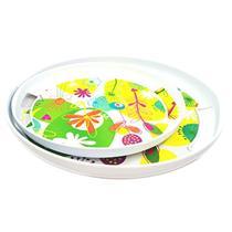 Conjunto de Pratos 2 Peças Latcor 20827/20829 Plástico Branco com Ilustração Floral