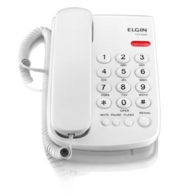 Telefone de Mesa Elgin com Fio TCF 2000 3 Níveis de Campainha Bloqueador Branco