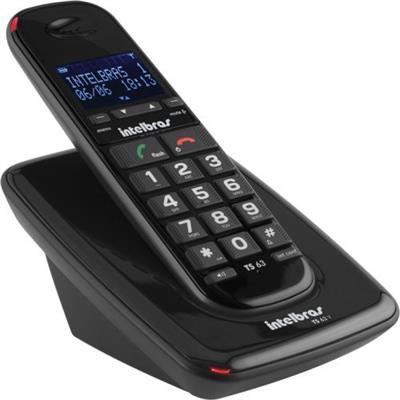 Telefone sem Fio Intelbras TS 63V com Identificador de Chamadas Bivolt Preto