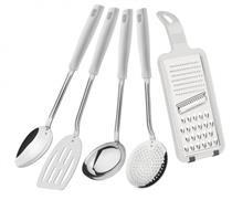Conjunto de Utensílios 5 Peças Tramontina Easy 25299/804 Inox e Plástico Branco