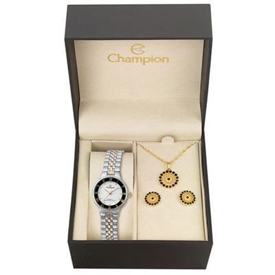 Relógio Feminino Champion com Kit de Joias CH27158W Analógico Pulseira de Aço Prateado e Dourado